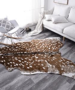 Faux Cow Hide Rug Sika Deer Skin Rug Imitation Animal Skin Pelt Shape Handmade Simulation Leather Floor Area Carpert