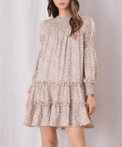 Floral tiered smocked mini dress fall colours
