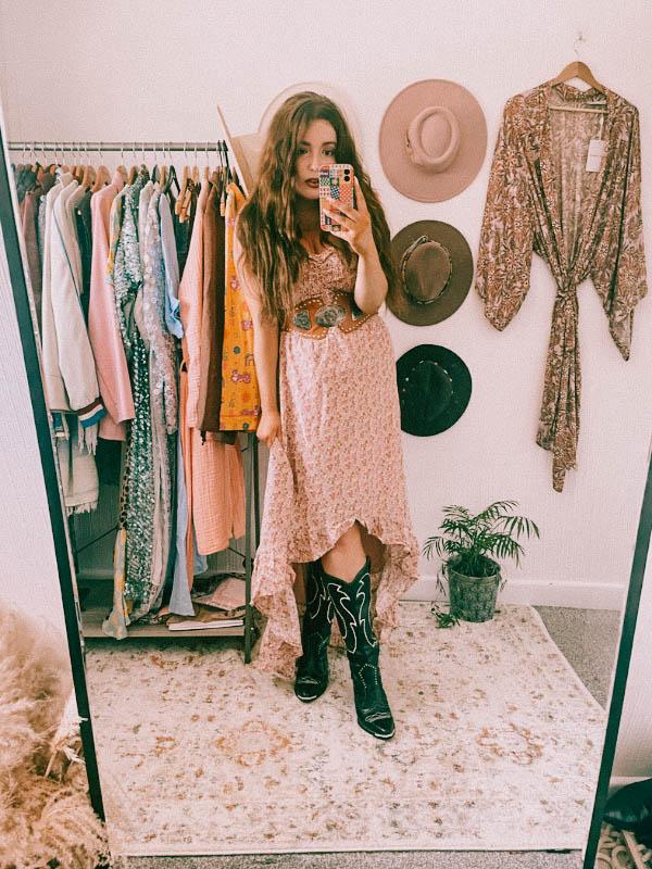 Melbelle Eden Maxi Dress Boho Dress with cowboy boots and vintage belt