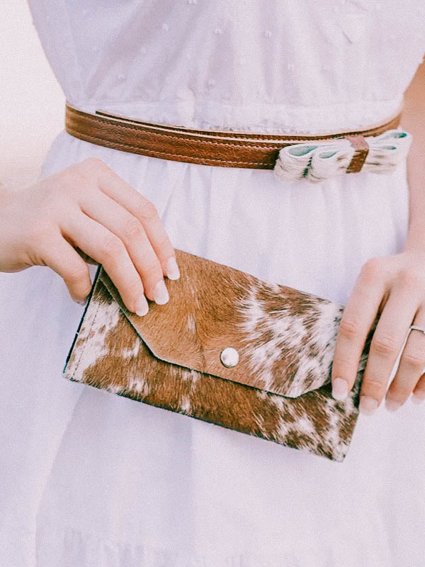 Cowhide purse boho purse