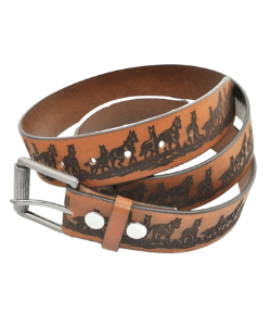 Western style leather belt with horses