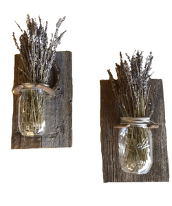 Pair of Rustic horseshoe mason jar wall sconce candle holder made from reclaimed horse shoes