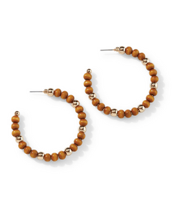 woodland wooden hoop earrings from Park Lane Jewellery