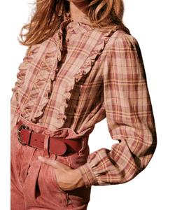 Sezane burgundy check ruffle shirt - western style