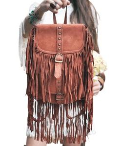 TASSEL LEATHER BACKPACK Burnt Orange, Boho Festival Rucksack, Western Fringe Leather Bag Large, Native American, Navajo Indian