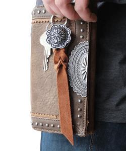 Western Leather Concho Keychain