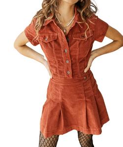 Urban Outfitters Edie Corduroy Shirt Dress Orange
