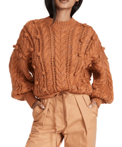 Ulla Johnson Caterina Cable Knit Pullover with pom pom trim, brown