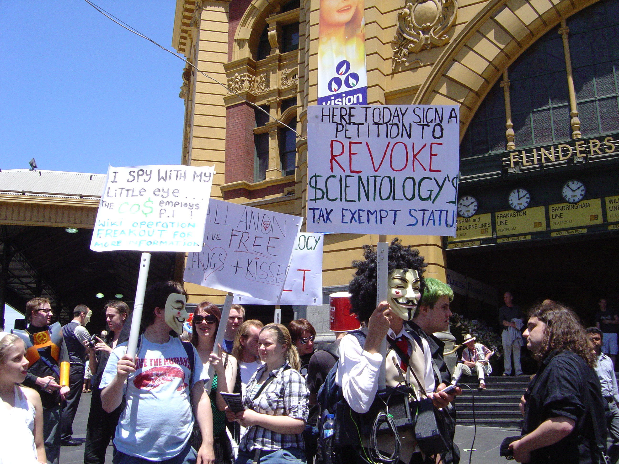 Anonymous Anti-Scientology Protest Flinders St. 10/1/09