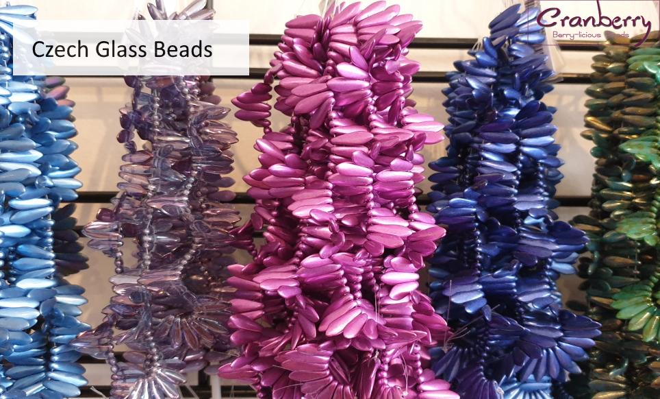 Cranberry Beads Czech Glass
