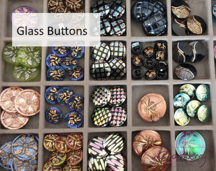 Cranberry Beads Glass Buttons
