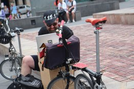 Nick checking us off and handing out Brompton Australia musettes w instructions - via @baudman