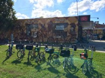 Brompton line-up outside Velo Cycles