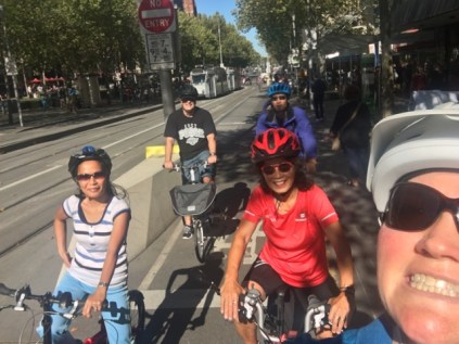 Starting off on our ride - heading north along Swanson Street