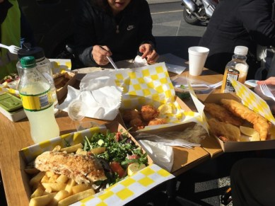 Lunch was fish and chips on Acland Street