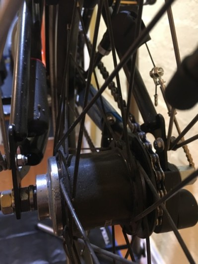 Dirty rear hub, forks and wheel