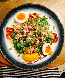 healthy salad and egg