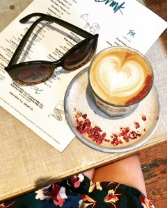 Rose latte, sunglasses