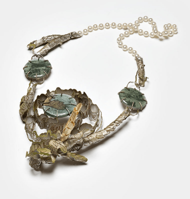 Nicole Polentas; Exile: The Blackest Night necklace 2008; silver, gold, copper, plastic, epoxy, image, glass powder, paint, pearls; 420 x 180 x 60 mm