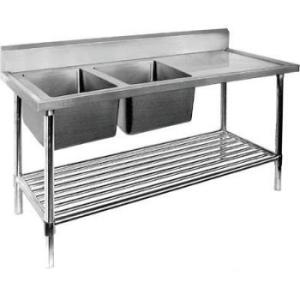 Stainless steel double bowl sink bench