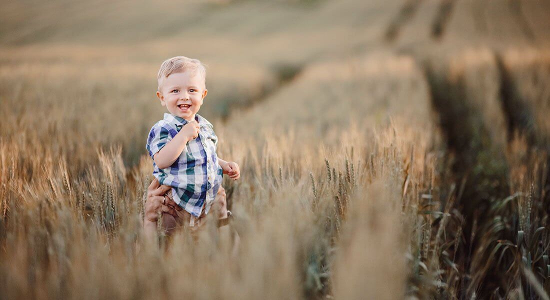 Man lifts the little boy above his head among the field