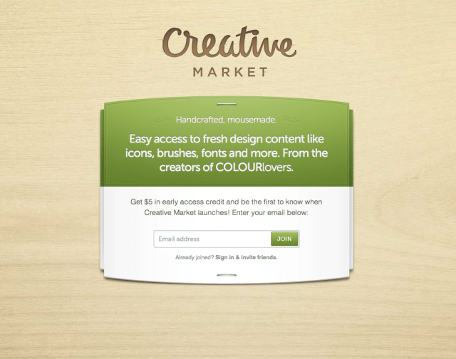 Screenshot of the Creative Market Launch Page