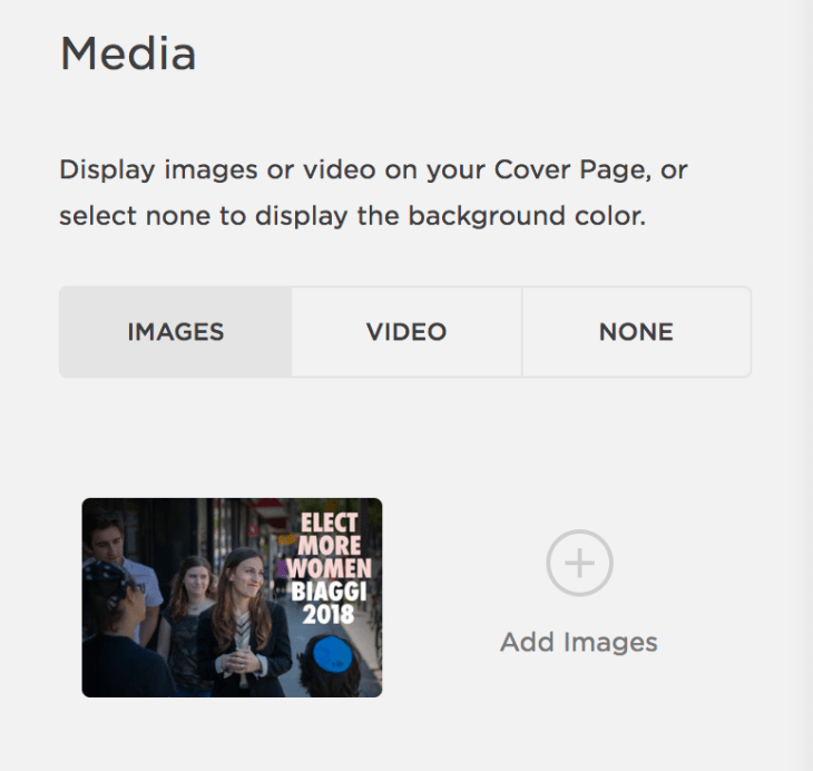 """Squarespace's """"Media"""" panel, which lets you add a background image or video."""