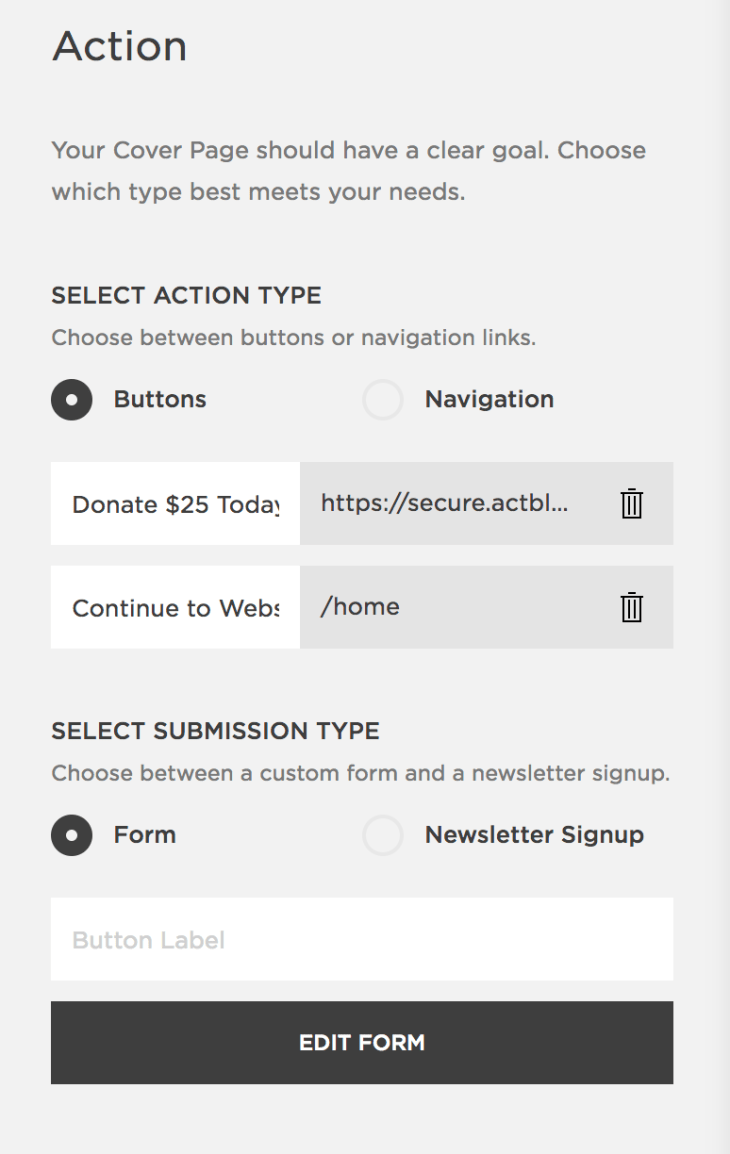 """Squarespace's """"Action"""" panel, which lets you choose between buttons/navigation, and a general form or newsletter signup."""