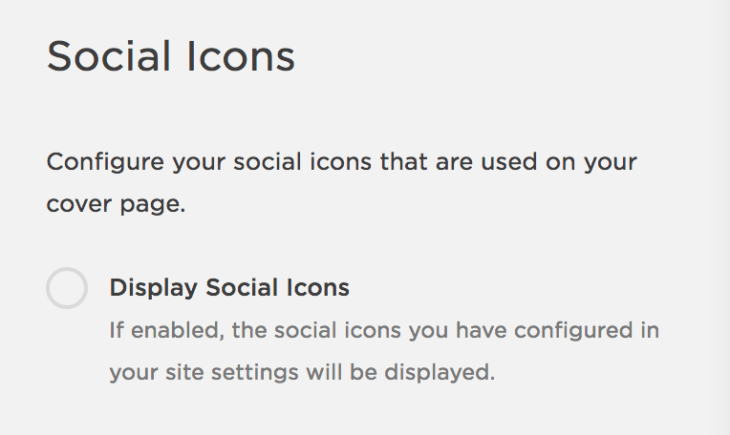 """Squarespace's """"Social Icons"""" panel, which features a toggle to turn on/off social icons."""