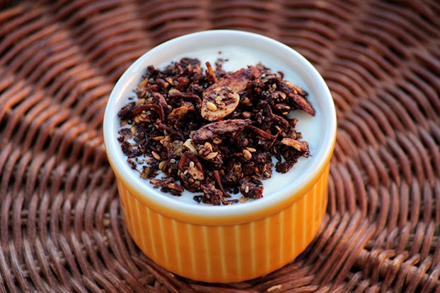 Granola de coco e chocolate