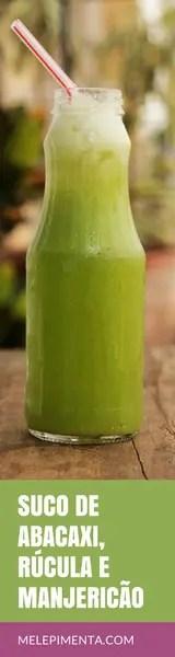 Suco de abacaxi rucula e manjericao