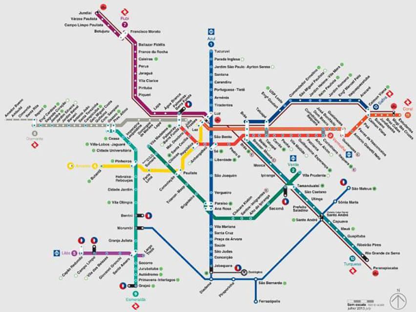 Como andar de metro em São Paulo mapa