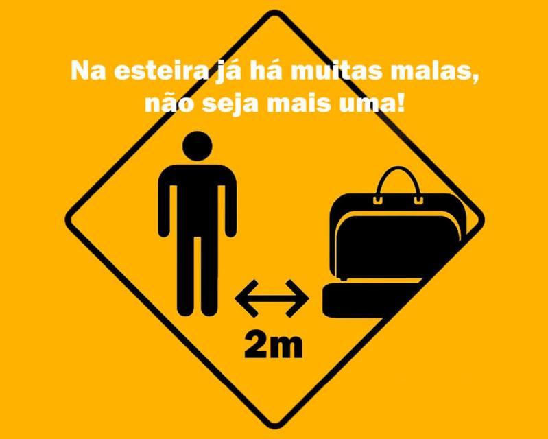 Campanha contra o tumulto na esteira de bagagem