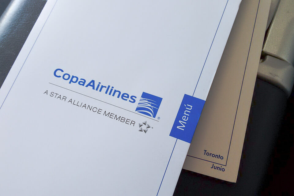 Como é voar Copa Airlines? menu da classe executiva (business)