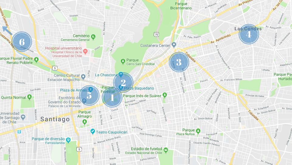 Mapa Santiago Chile - Onde ficar - Melhores Bairros
