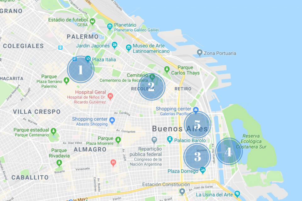 mapa Buenos Aires - Onde ficar - Melhores bairros e melhores hotéis
