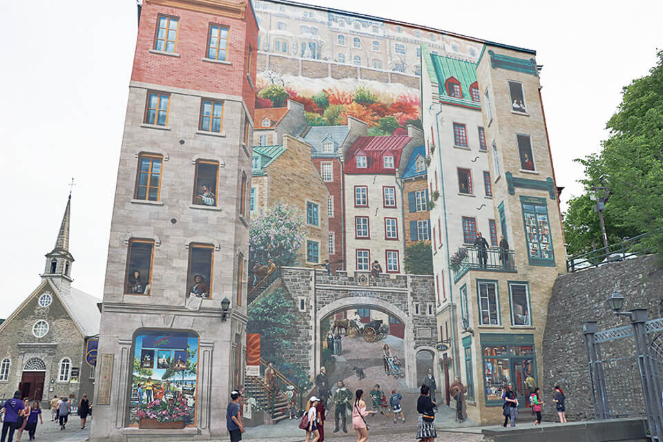Mural da Place Royale em Quebec City