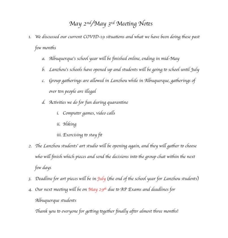 8th Meeting – Notes