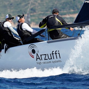 """With partial scores of 1-2-2, Maidollis ITA854 with Carlo Fracassoli and Enrico Fonda helming and calling tactics, is the """"boat of the day"""" and the leader of the provisional standings. - Photo © Pierrick Contin / IM24CA"""