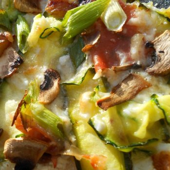 Leek, cheese, spring onion, courgette, ham, mushroom