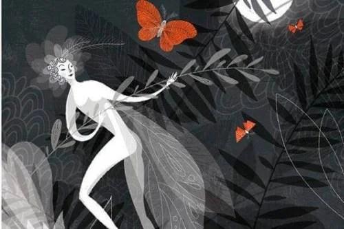 Mulher em luto com borboletas cor de laranja