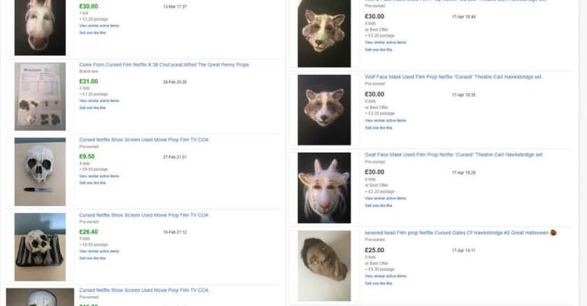 Listagens do eBay para adereços amaldiçoados