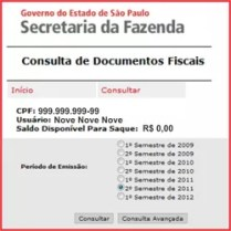 consulta saldo Nota Fiscal Paulista