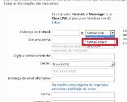 criar conta email hotmail.com.br