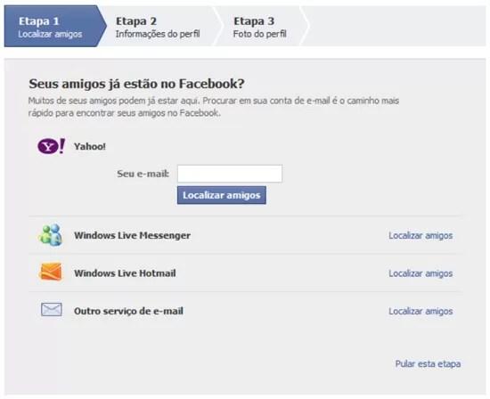 Localizar amigos Facebook