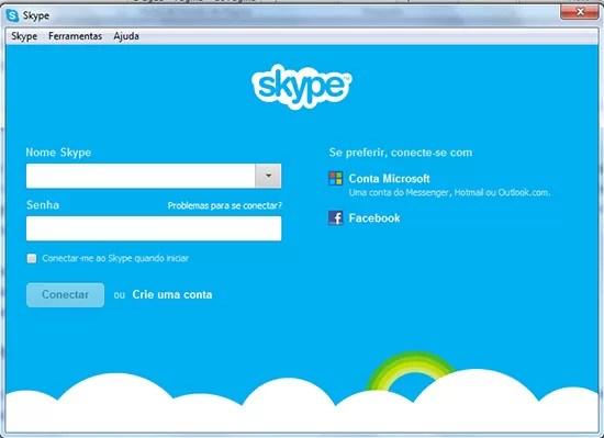 Tela inicial Migrar contatos MSN Skype