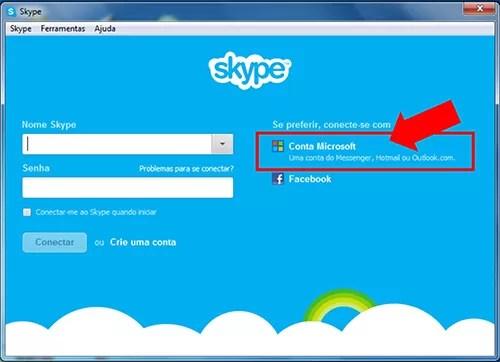 Tela Skype Login Conta Microsoft