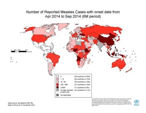 Sarampo, mapa de risco