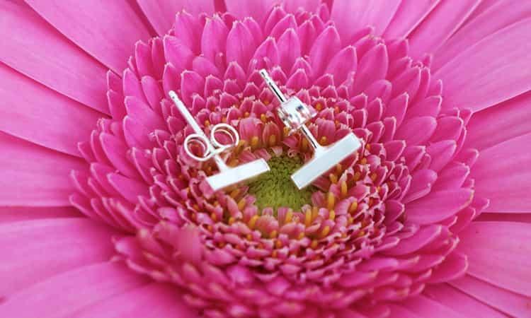 zilveren staaf oorbellen