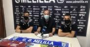José Antonio González y Asier Parra fueron presentados ayer como nuevos jugadores de la U.D. Mellla en la sala de prensa del club